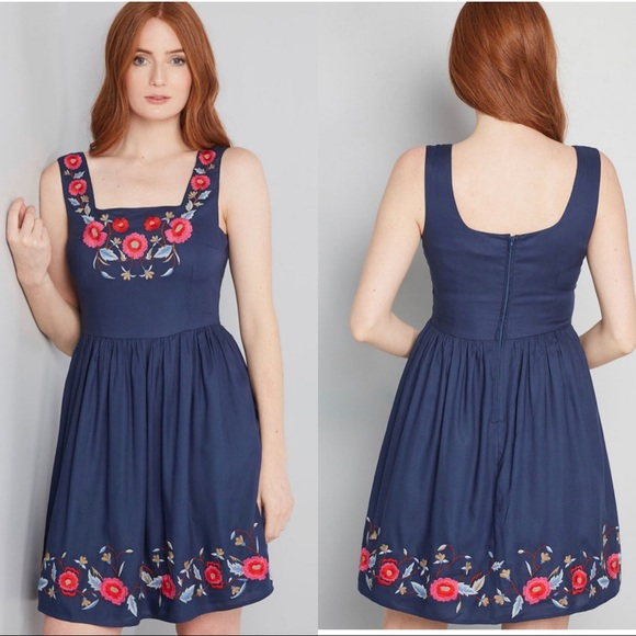 Modcloth Dresses & Skirts - ModCloth Navy Enlightened Look Embroidered Dress